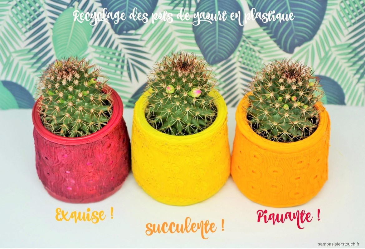 diy recyclage des pots de yaourt samba sisters touch blog diy lifestyle et cr atif. Black Bedroom Furniture Sets. Home Design Ideas
